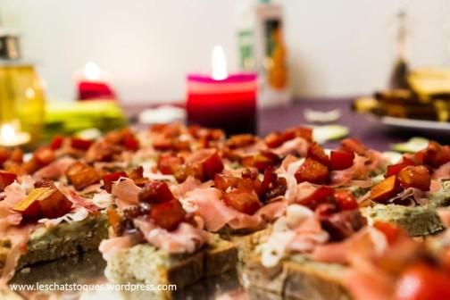 tartine roquefort jambon praline